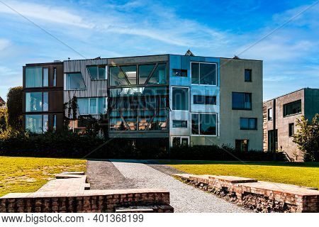 Berlin, Germany - July 28, 2019: Detail Of Modern Architecture Townhouses In Berlin Mitte