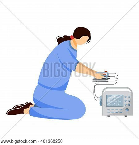 Emergency Doctor With Defibrillator Flat Vector Illustration. First Aid And Emergency Care Equipment
