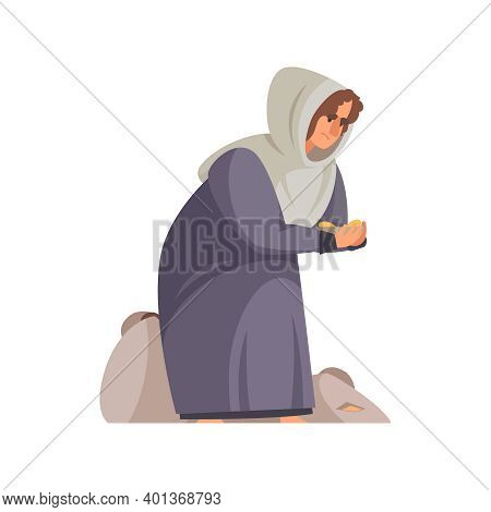 Icon With Poor Medieval Peasant On Knees Cartoon Vector Illustration