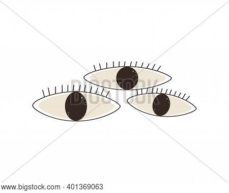 Third Eye. Set Of Eyes Flat Vector Llustration. Occult Mystical Emblem. Different Shapes Isolated On