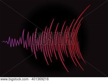 Music Wave Logo. Color Pulse Audio Player Dynamic Banner. Digital Media Waveform Technology Jpeg Ill
