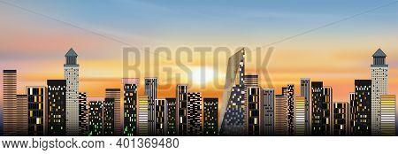 Cityscape With Sunset Sky Background,dramatic Sunrise Over The City,twilight Skyline Landscape With