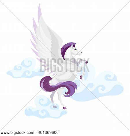 Pegasus Flat Vector Illustration. Mythological Creature Fly In Air. Fantastical Beast In Sky. Greek