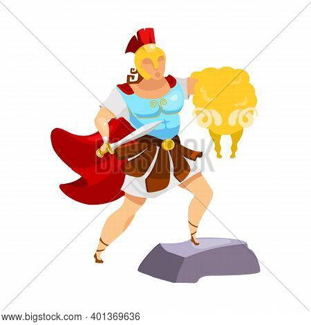 Jason With Golden Fleece Flat Vector Illustration. Fighter With Yellow Ram Fur. Victory Symbol. Clas