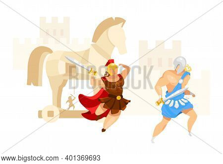 Trojan War Flat Vector Illustration. Troy And Achilles. Warriors Fight. City Assault In Horse Contru