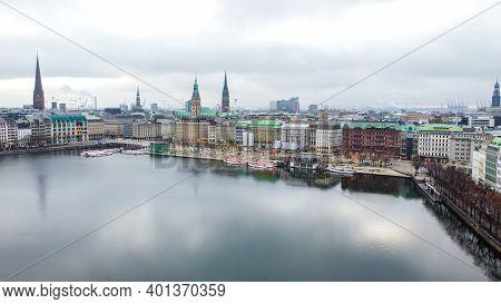 City Of Hamburg From Above - Hamburg, Germany - December 25, 2020