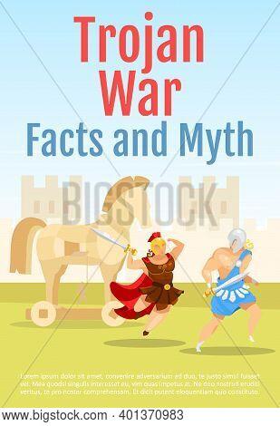 Trojan War Facts And Myths Brochure Template. Battle Scene With Gladiators. Flyer, Booklet, Leaflet