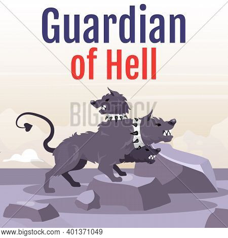 Guardian Of Hell Social Media Post Mockup. Greek Mythological Beast. Cerberus. Hound With Many Heads