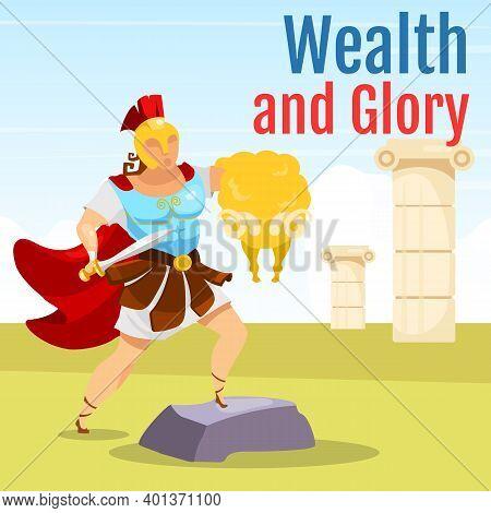 Wealth And Glory Social Media Post Mockup. Greek Mythology Scene. Jason And Golden Fleece. Web Banne