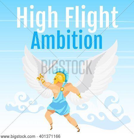 High Flight Ambition Social Media Post Mockup. Greek Mythology. Icarus With Sword In Sky. Web Banner