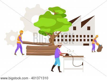 Hardwood Timber Production Flat Vector Illustration. Industrial Wood. Forest Exploitation. Logging.