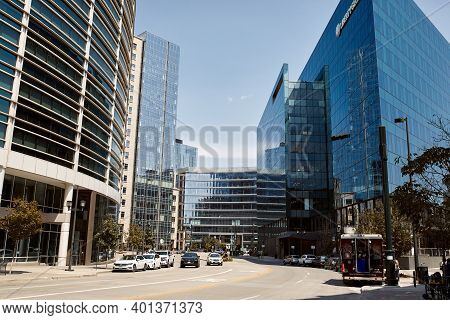 Denver, Colorado - August 4th, 2020: Modern High-rise Buildings With Liberty Global Building In The