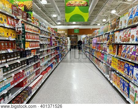 The Cereal, Coffee And Tea Aisle At A Publix Grocery Store In Orlando, Florida.