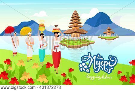 Nyepi Flat Poster Vector Template. Happy Day Of Scilence. Pura Ulun Danu Bratan. Holiday. Women In N