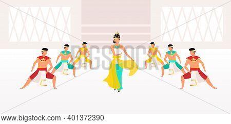 Indonesian Dances Flat Vector Illustration. Traditional Celebration. Asian Celebration. Men And Woma