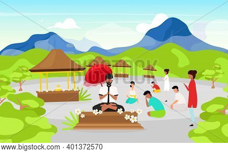 Meditating People Flat Vector Illustration. Place Of Worship In Mountains. Meditating Pose. Indonesi