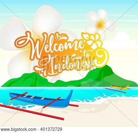 Welcome To Indonesia Social Media Post Mockup. Boats In Lake. Waterscape. Advertising Web Banner Des