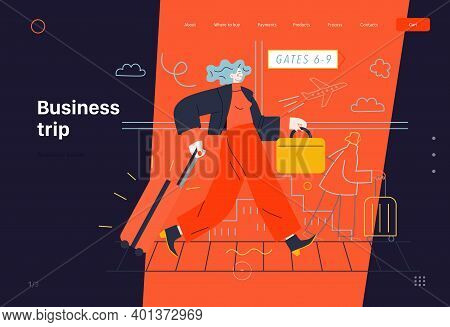 Business Topics -business Trip, Web Template, Header. Flat Style Modern Outlined Vector Concept Illu