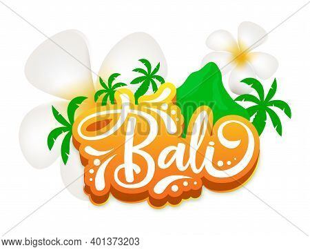 Bali Flat Poster Vector Template. Indonesian Exotic Island. Flowers And Mountain. Asian Culture. Ban