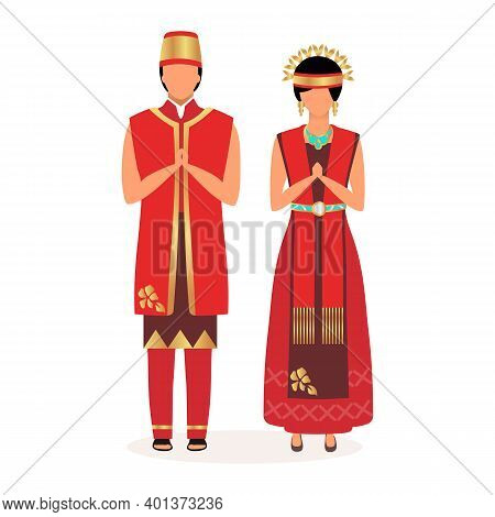 Indonesians Flat Vector Illustration. Adult Couple. Greetings. Indigenous People. Asian Culture. Peo