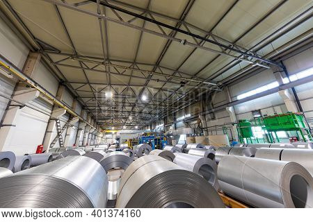 Industrial Factory Interior With Equipment, Conveyor Line And Steel Tools, Industry Background.