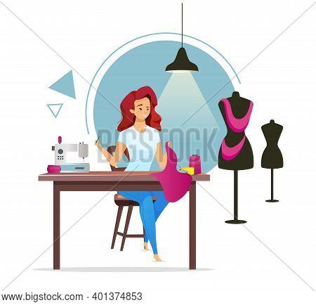 Dressmaker Flat Color Vector Illustration. Female Tailor. Atelier. Fashion Designer. Woman Sewing Cl