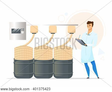 Yarn Production Flat Color Vector Illustration. Male Factory Worker. Knitting Yarn Manufacturing. Ro