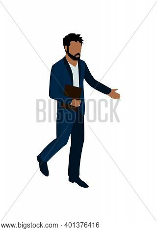 Businessman With Folder On White Background 3d Isometric Vector Illustration