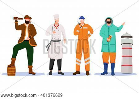 Maritime Professions Flat Vector Illustration. Ship Chef And Lighthouse Keeper. Marine Occupation. P
