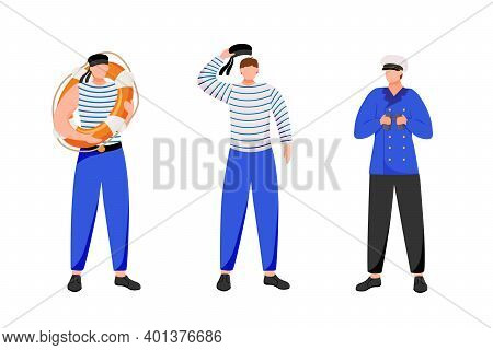 Maritime Occupation Flat Vector Illustration. Marine Professions. Seafarers In Work Uniform. Sailors