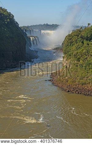 Looking Up The Main Chute Of Iguazu Falls In Iguazu Falls National Park In Argentina