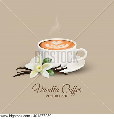 Vector 3d Realistic White Porcelain Ceramic Mug, Hot Milk Coffee, Foam, Flower, Heart Pattern And Sm