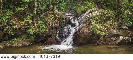 Waterfall Landscape In Tropical Jungle Of Thailand. Beautiful Thai Panoramic Nature Scenery With Fal