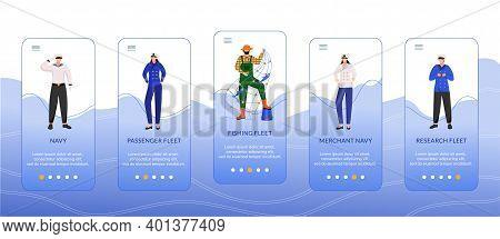 Types Of Sea Fleets Onboarding Mobile App Screen Vector Template. Passenger, Merchant Navy. Fishing