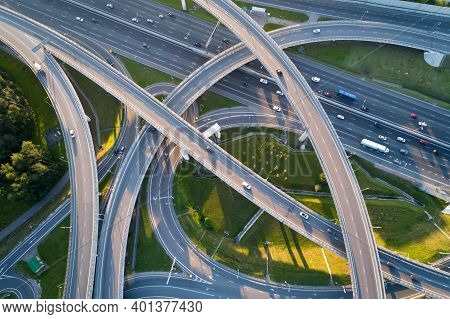 A Modern Flyover Road Junction In A Large Megapolis