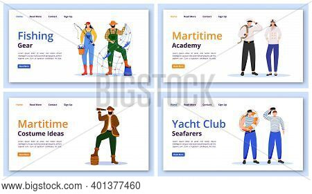 Maritime Characters Landing Page Vector Templates Set. Fishing Gear Website Interface Idea With Flat