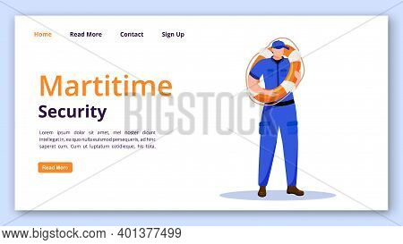 Maritime Security Landing Page Vector Template. Rescuer Website Interface Idea With Flat Illustratio