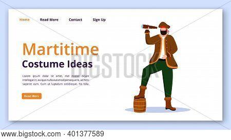 Maritime Costume Ideas Landing Page Vector Template. Pirate Website Interface Idea With Flat Illustr