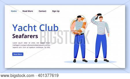 Yacht Club Seafarers Landing Page Vector Template. Sailors Website Interface Idea With Flat Illustra