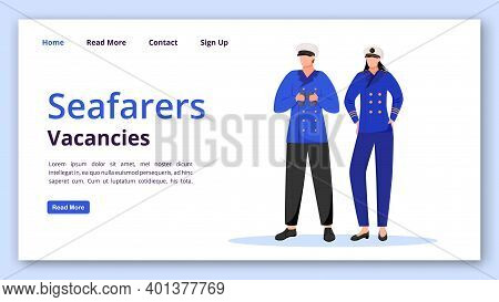 Seafarers Vacancies Landing Page Vector Template. Maritime Occupation Website Interface Idea With Fl