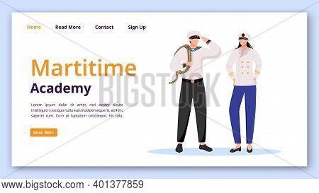 Maritime Academy Landing Page Vector Template. Nautical School Website Interface Idea With Flat Illu
