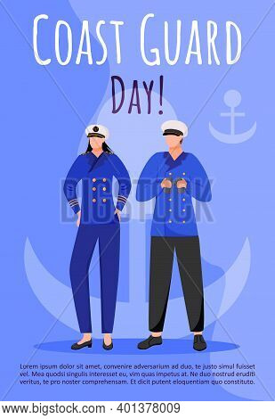 Coast Guard Day Poster Vector Template. Maritime Professional Holiday Celebration. Brochure, Cover,