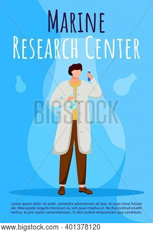 Marine Research Center Poster Vector Template. Marine Science. Scientist With Test Tube. Brochure, C
