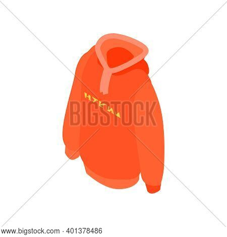 Isometric Online Shopping Fashion Clothes With Orange Pullover Vector Illustration