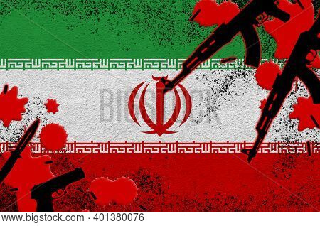 Iran Flag And Guns In Red Blood. Concept For Terror Attack And Military Operations. Gun Trafficking