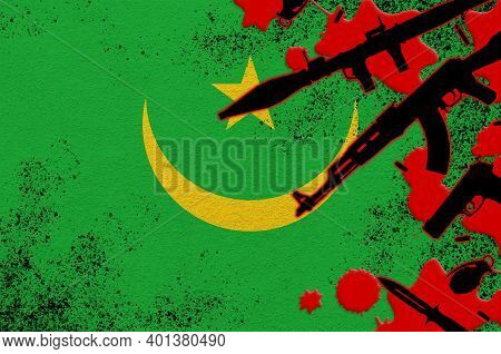 Mauritania Flag And Various Weapons In Red Blood. Concept For Terror Attack Or Military Operations W