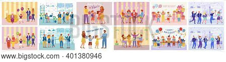 Birthday Party Flat Vector Illustrations Set. Happy Anniversary Celebration Party. Guests And Hosts