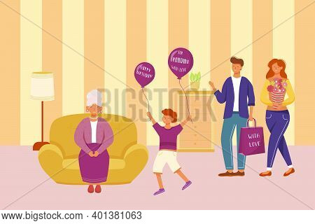 Family Celebration Grandma Birthday Flat Vector Illustration. Happy Holiday Party. For Granny With L