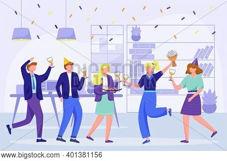 Corporate Birthday Party In Office Flat Vector Illustration. Office Team Anniversary Celebration. Fe