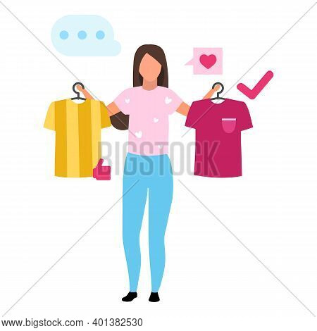 Girl Buying T Shirt Flat Vector Illustration. Woman Making Decision, Consumer In Mall Buying Clothes